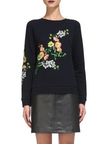 Whistles Aiko Floral Embroidered Sweat