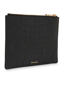 Whistles Matte Croc Medium Clutch