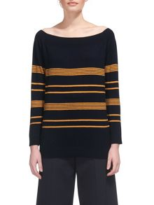 Whistles Stripe Bardot Relaxed Sweater