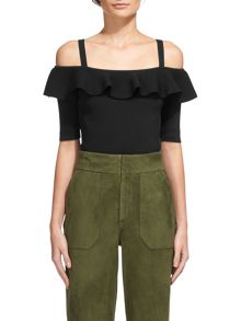 Whistles Frill Detail Bardot Knit