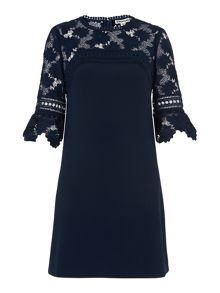 Whistles Regina Lace And Crepe Dress