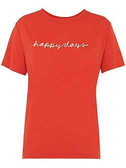 Happy Days Embroidered T-shirt