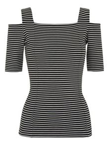 Whistles Cold Shoulder Stripe Top