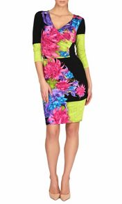 Print V Neck Ruched Dress