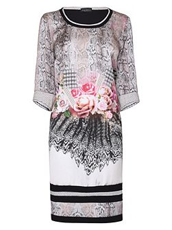 3/4 Sleeves Mixed Print Dress