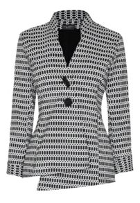 James Lakeland Jaquard monochrome aysmettric jacket