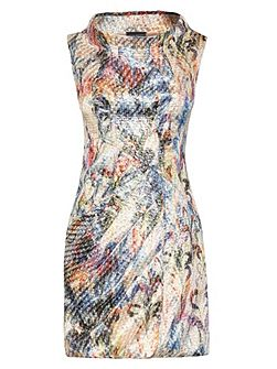 Print Cowl Neck Dress