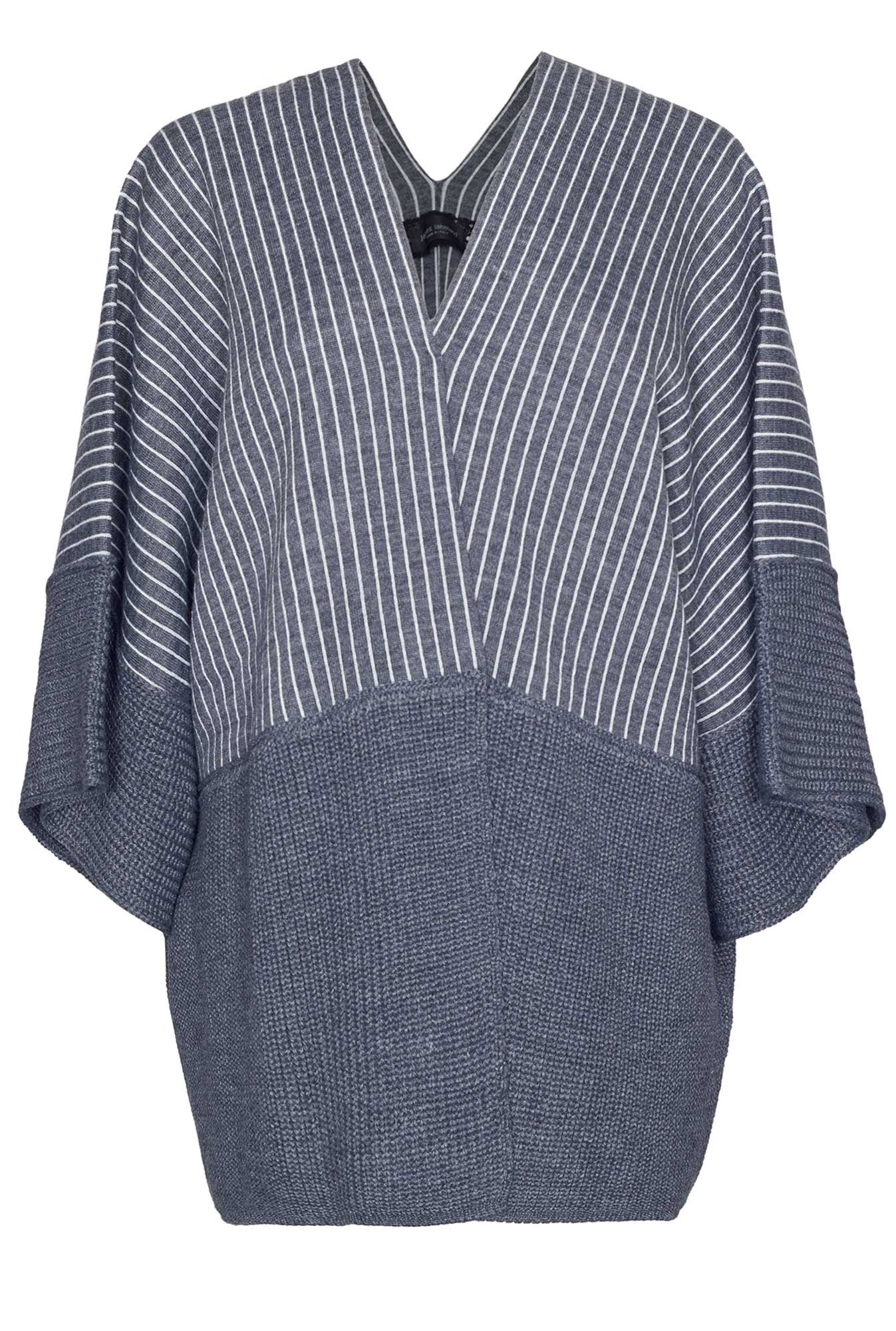 James Lakeland Stripe Knit Cape, Grey