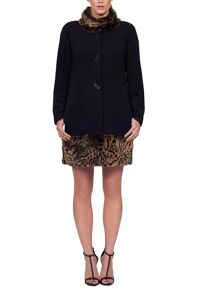 Faux Leopard Fur Trim Coat