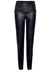 Faux Leather Zip Trousers
