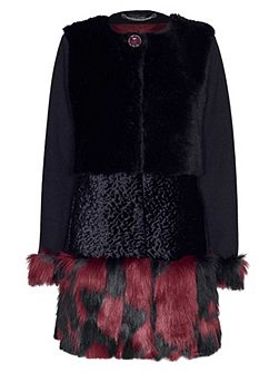 James Lakeland Bicolour Faux Fur Coat