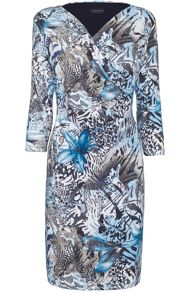 Print crossover side ruched dress