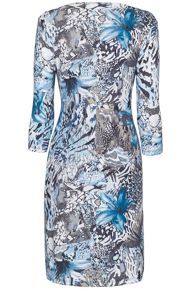 James Lakeland Print crossover side ruched dress