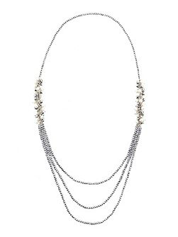 Long Pearl Beaded Cluster Necklace