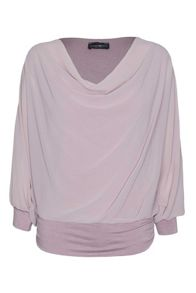 Cowl neck blouse with jersey