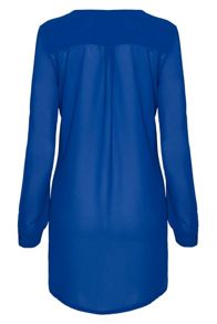 Pleat front long sleeve blouse