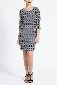 James Lakeland 3/4 Sleeve Jacquard Dress