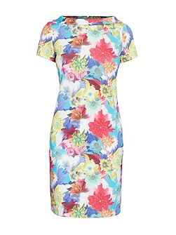 Short Sleeve High Neck Printed Dress