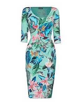 Printed Side Ruched Dress