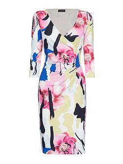 Abstract Floral Print 1/2 Moon Dress