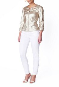 James Lakeland Ruched Faux Leather Jacket