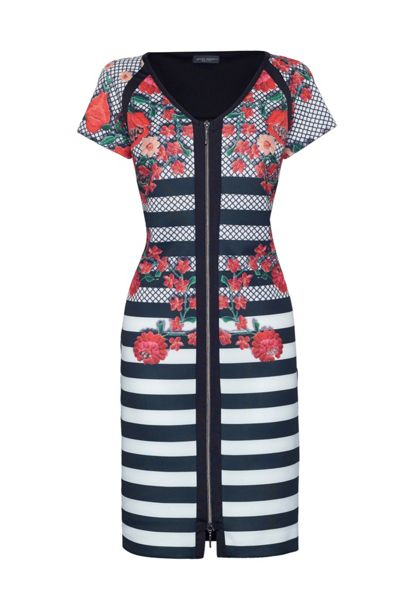 James Lakeland Stripe And Rose Print Dress
