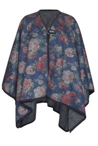 Boiled Wool Floral Cape