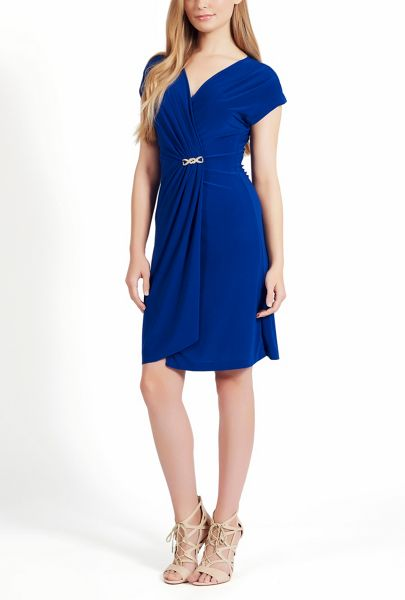 James Lakeland Sleeveless V Neck Ruched Dress