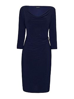 3/4 Sleeve Side Ruched Dress