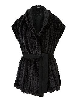 Faux Fur Gilet With Belt