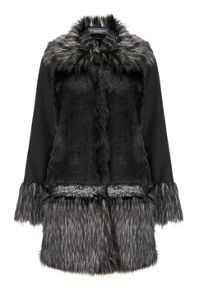James Lakeland Faux Fur Sequin Coat
