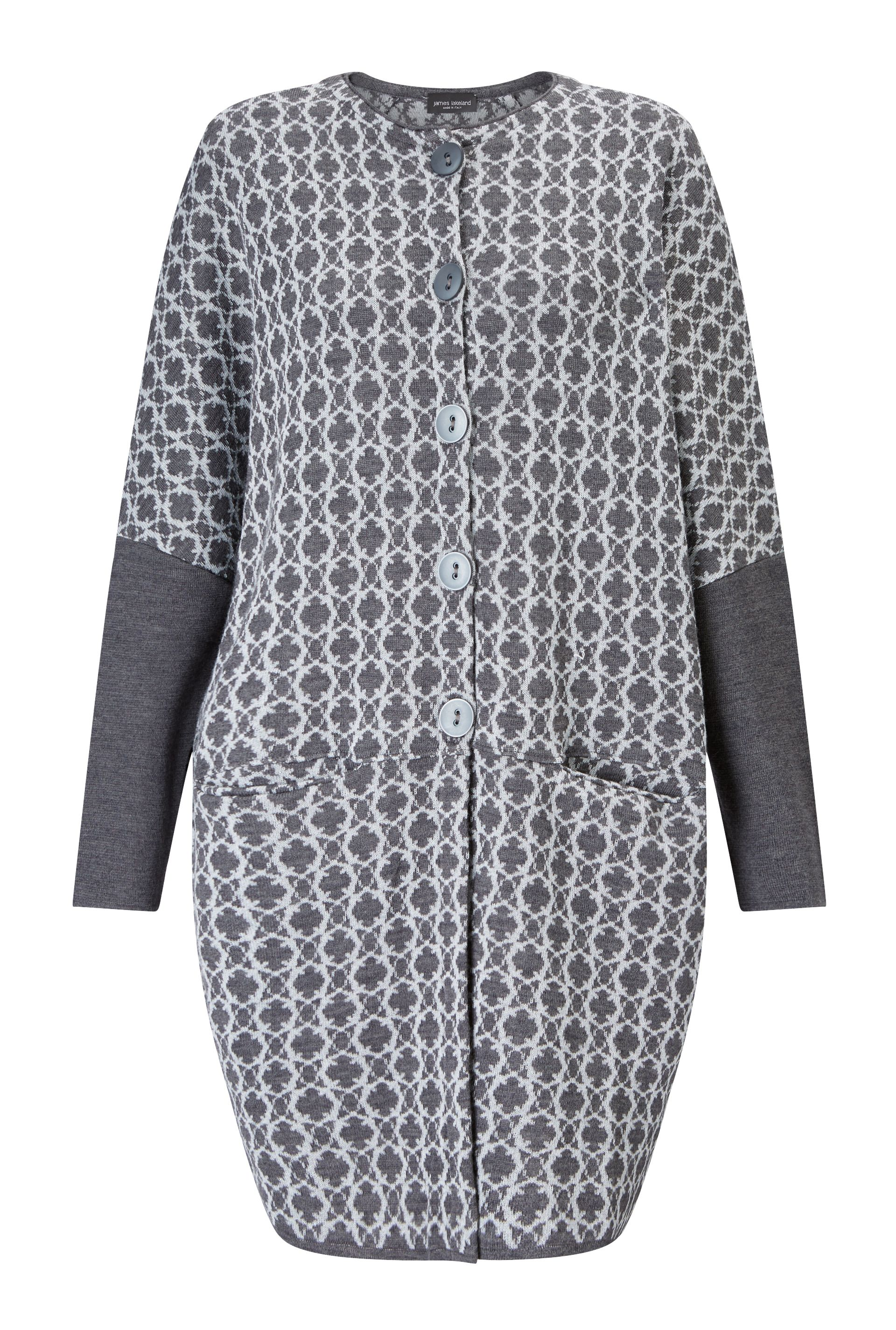 James Lakeland Knitted Jacquard Coat, Grey