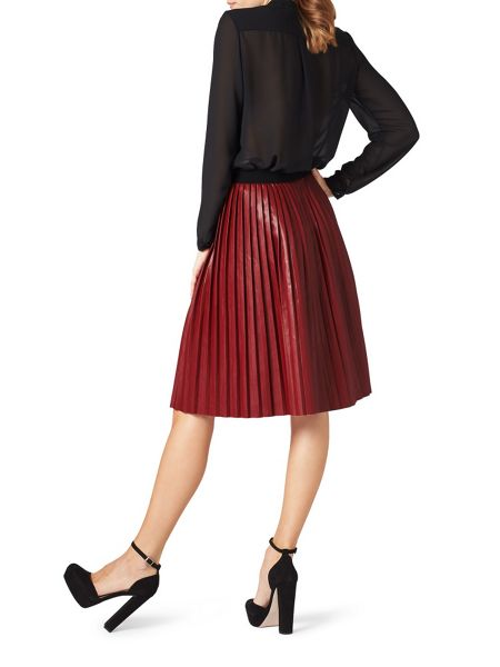 James Lakeland Faux Leather Pleat Skirt