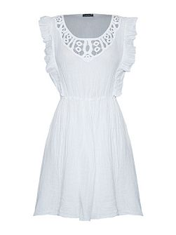 Linen Crochet Neck Dress