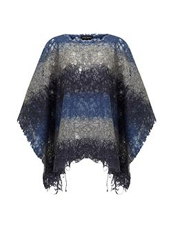Bi Colour Knitted Poncho