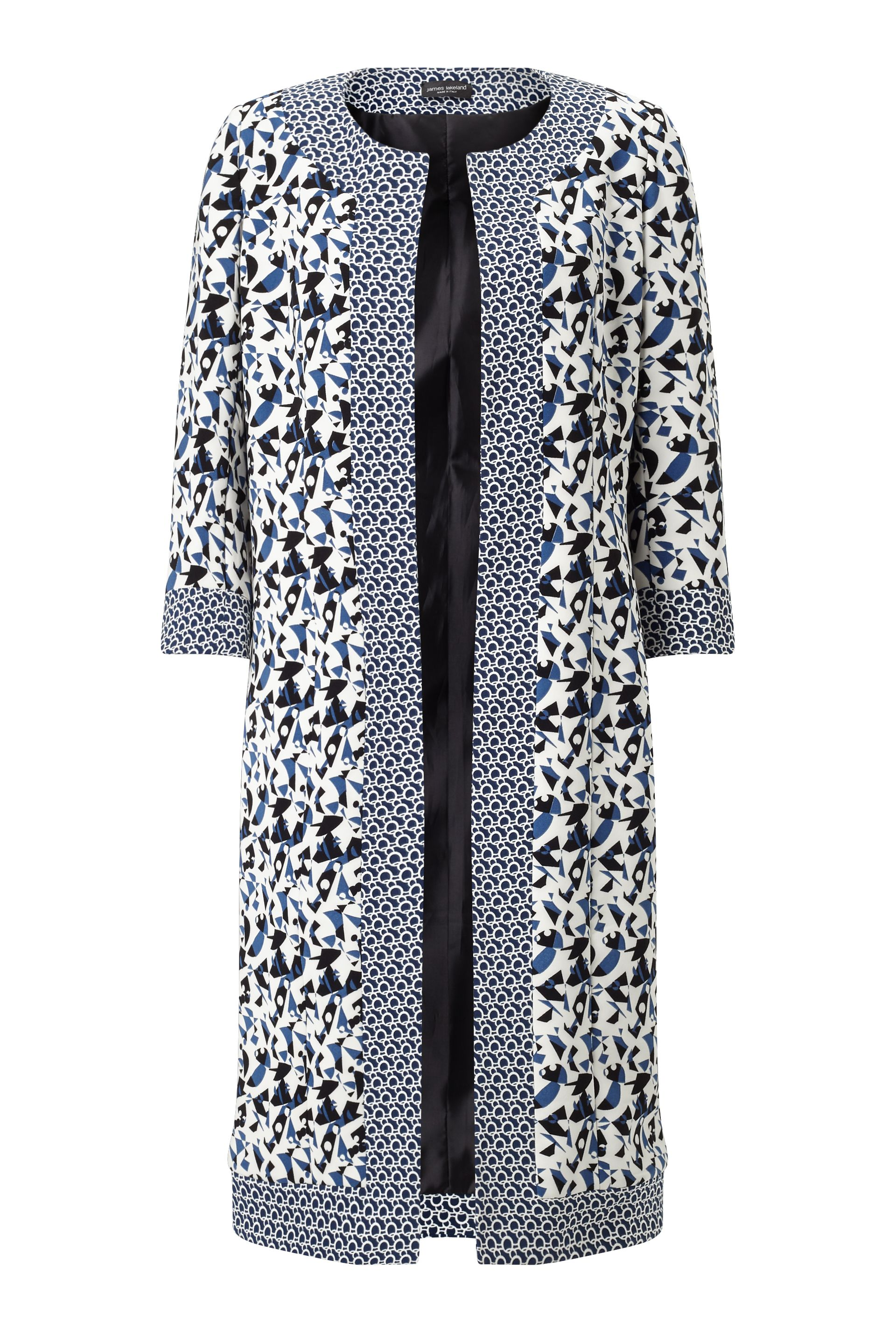 James Lakeland Print Long Jacket, Blue