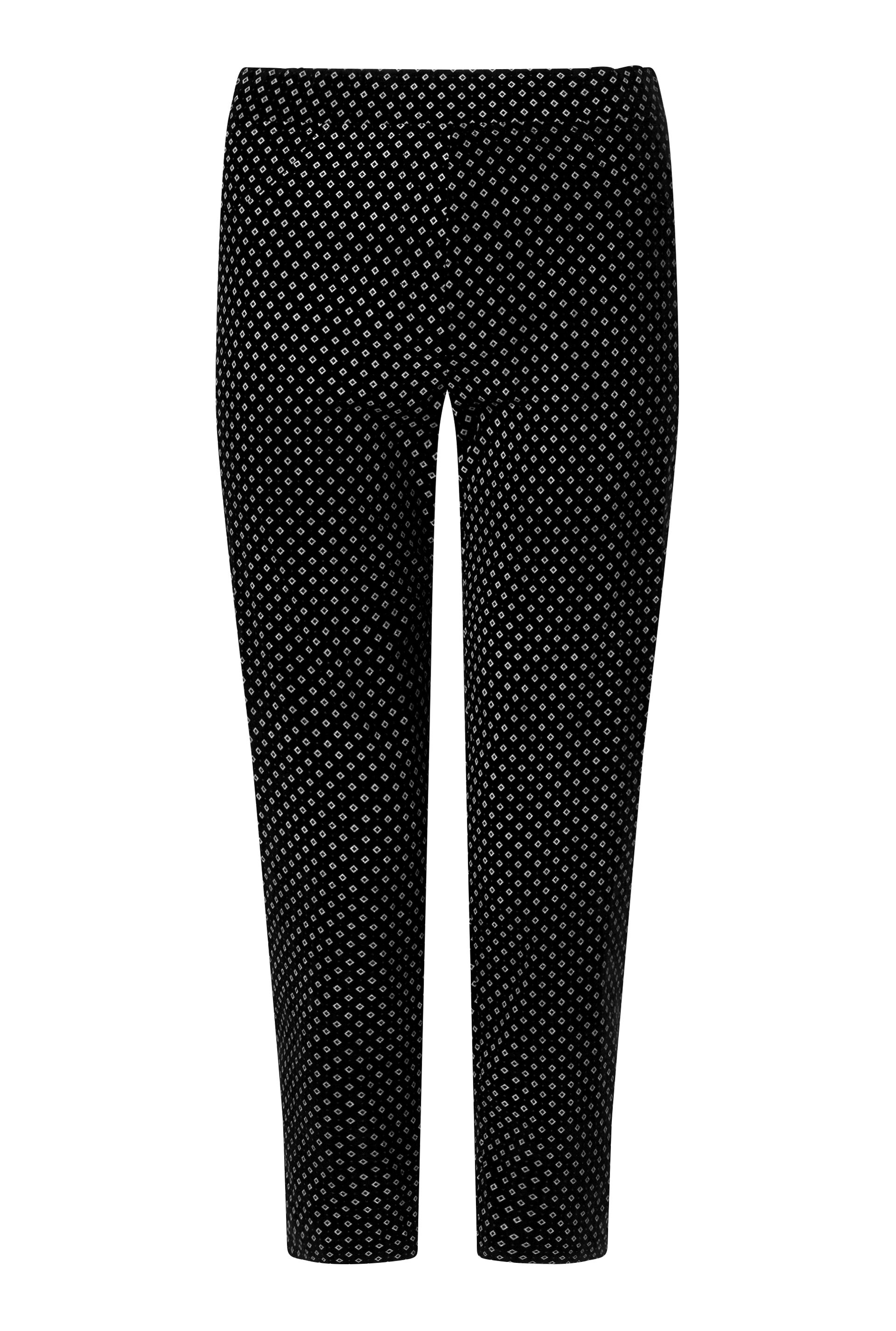 James Lakeland Cropped Patterened Trousers, Black