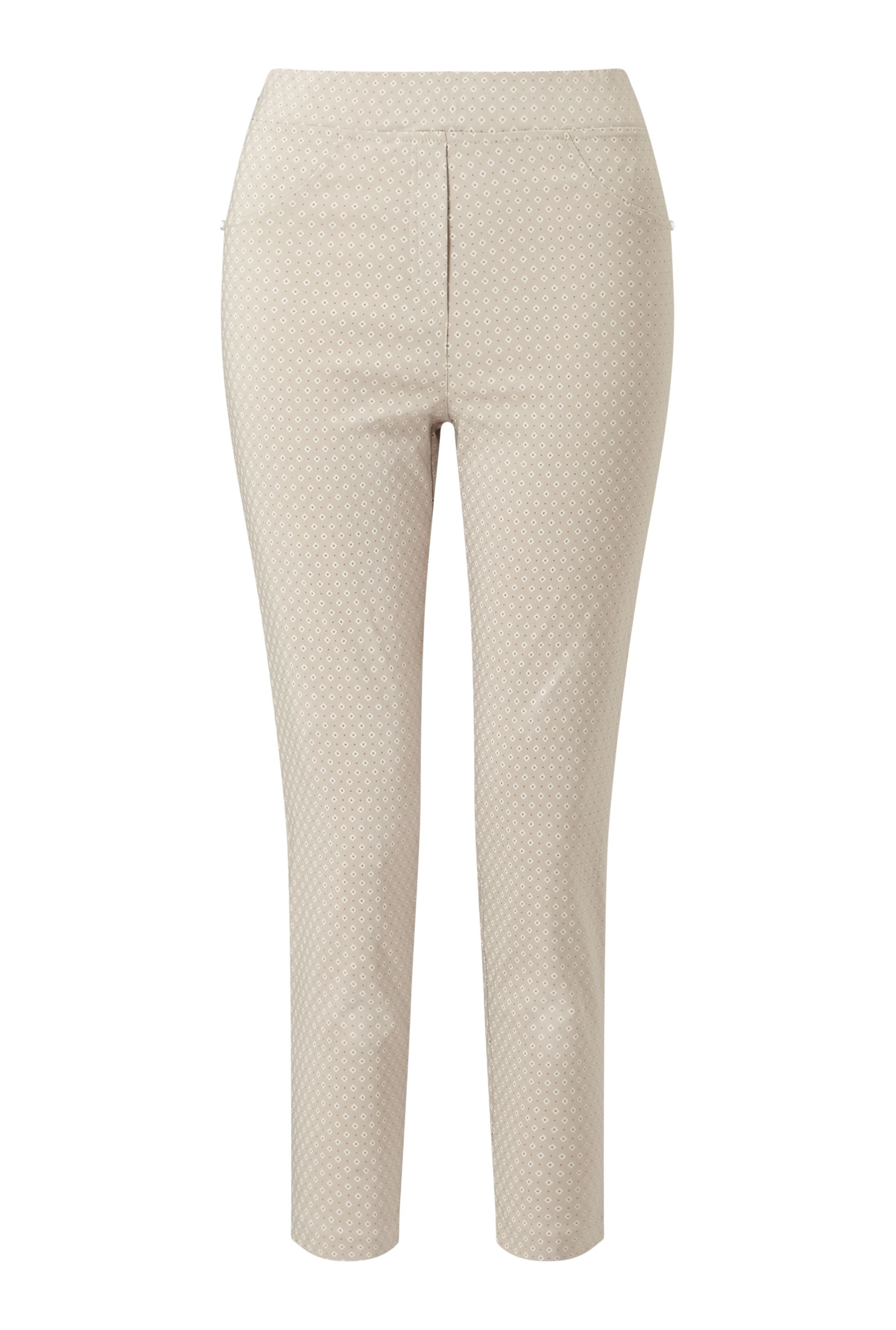 James Lakeland Cropped Patterened Trousers, White