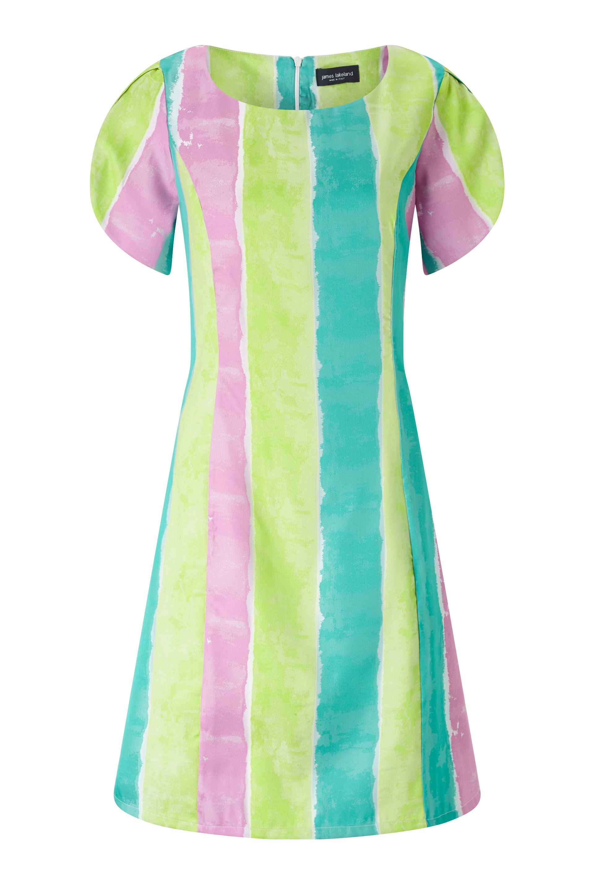 James Lakeland Stripe A Line Dress, Fuchsia