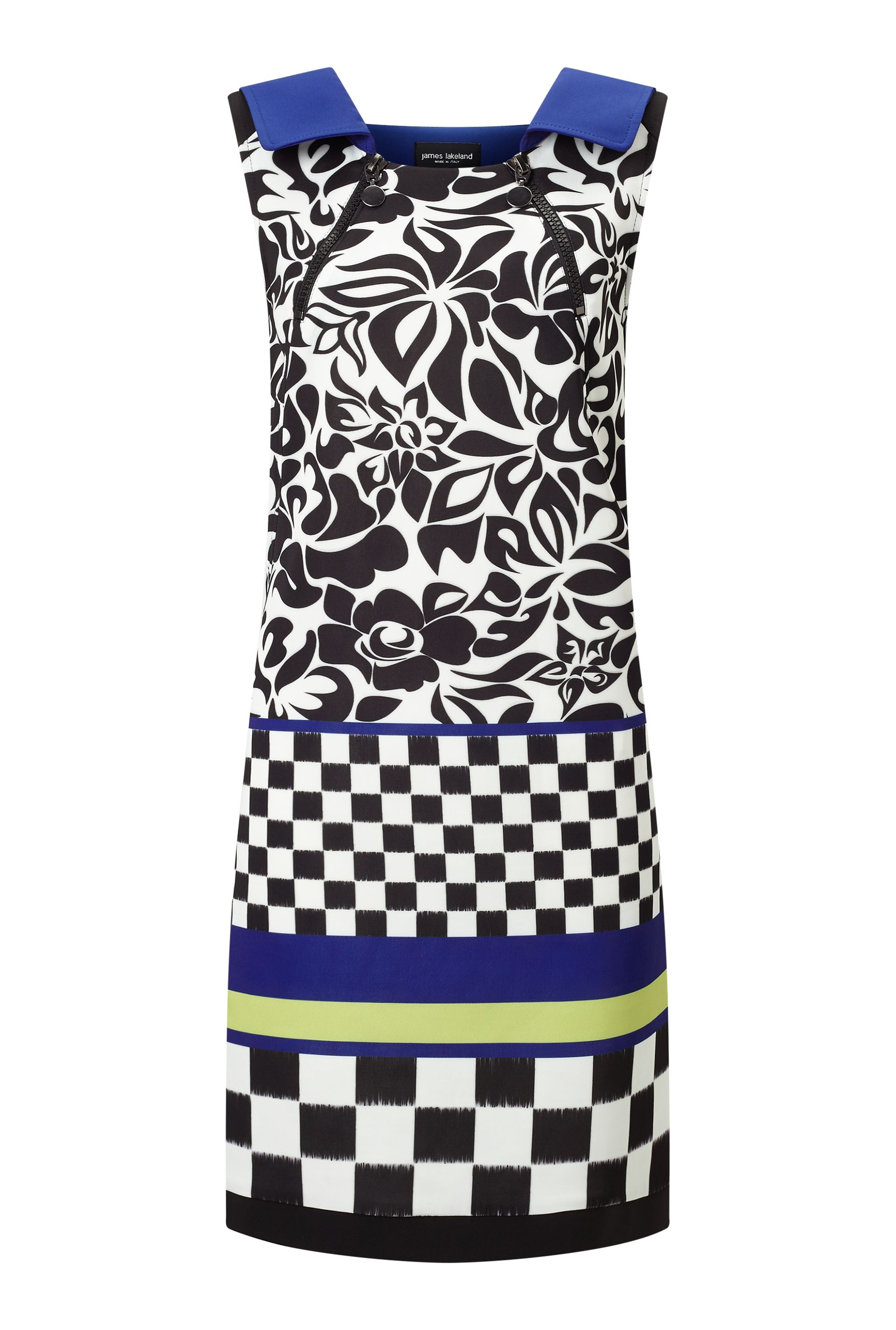 James Lakeland Neck Zip Print Dress, Blue