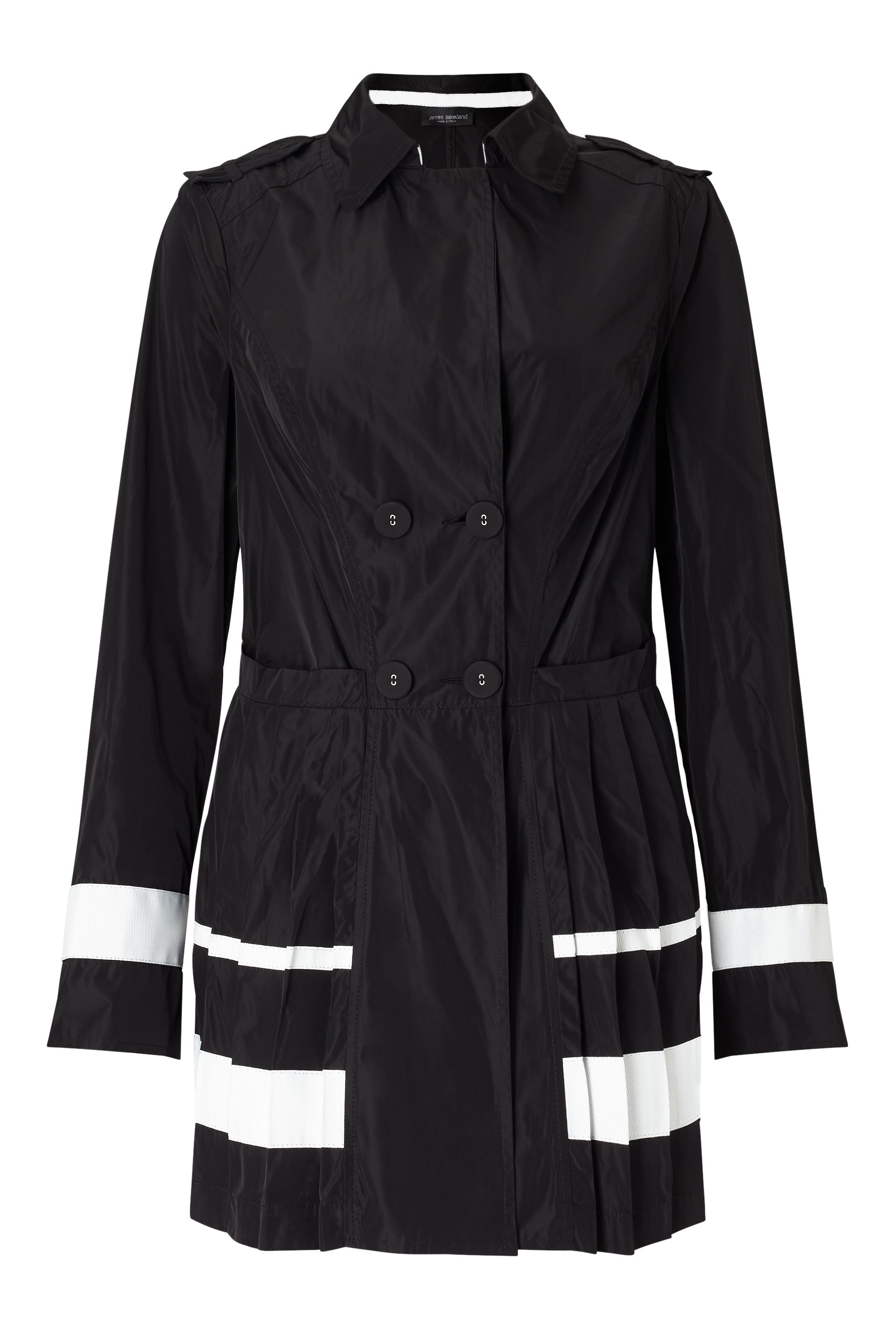 James Lakeland Pleated Trench Coat, Black