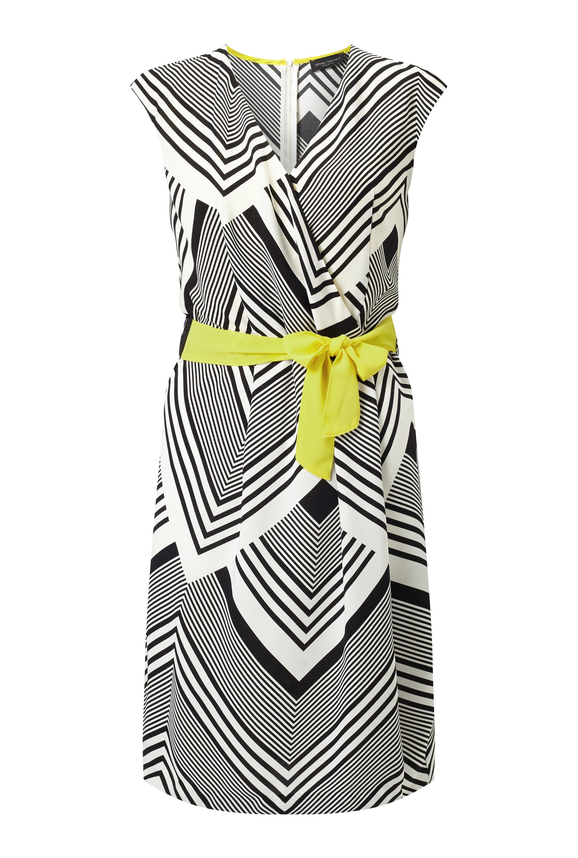 James Lakeland Chevron Stripe Pleat Dress, White