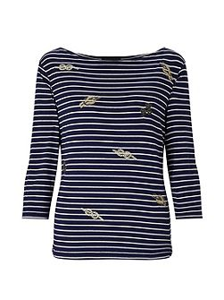 Stripe Embroidered T-Shirt