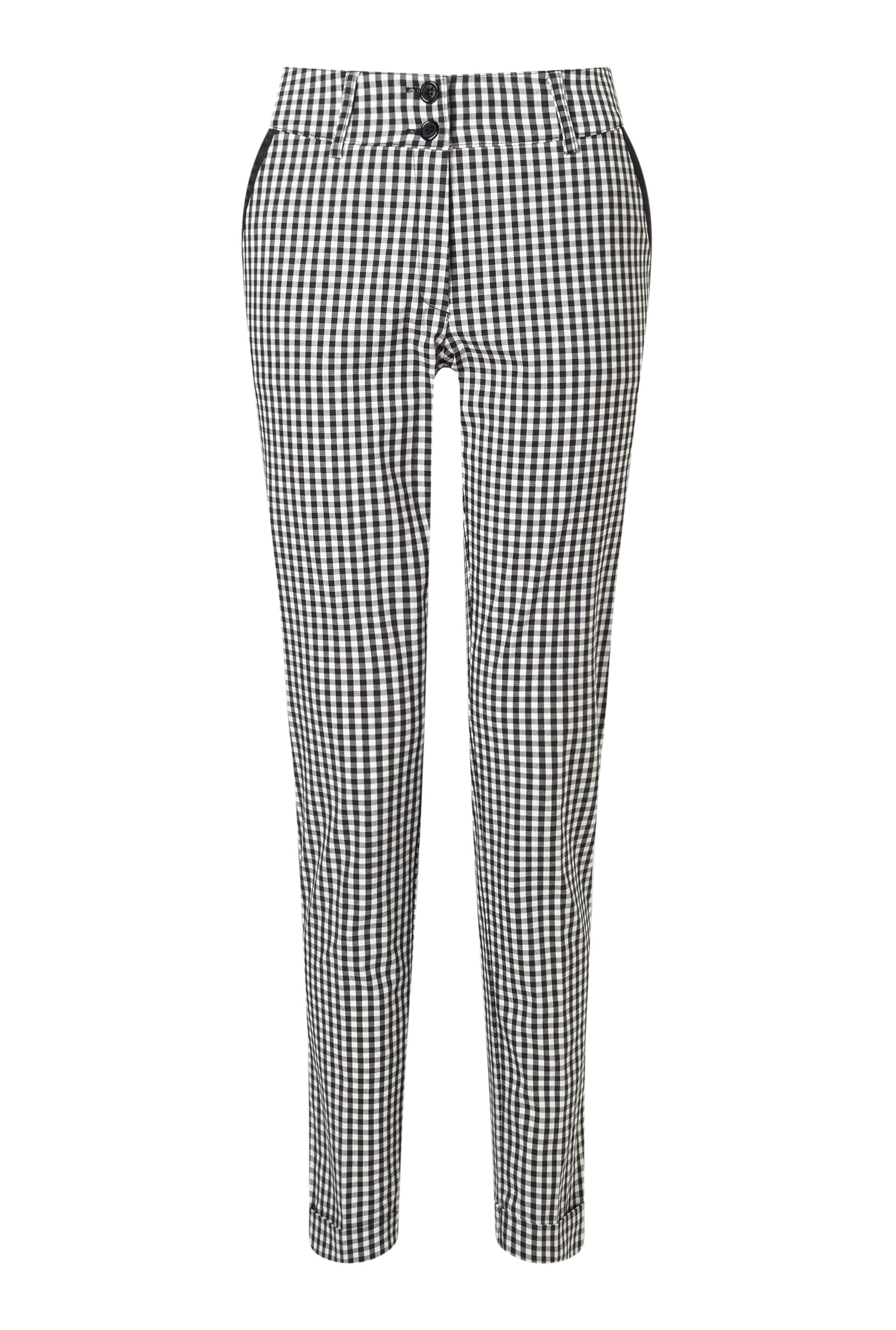 James Lakeland Gingham Turn Up Trousers, White