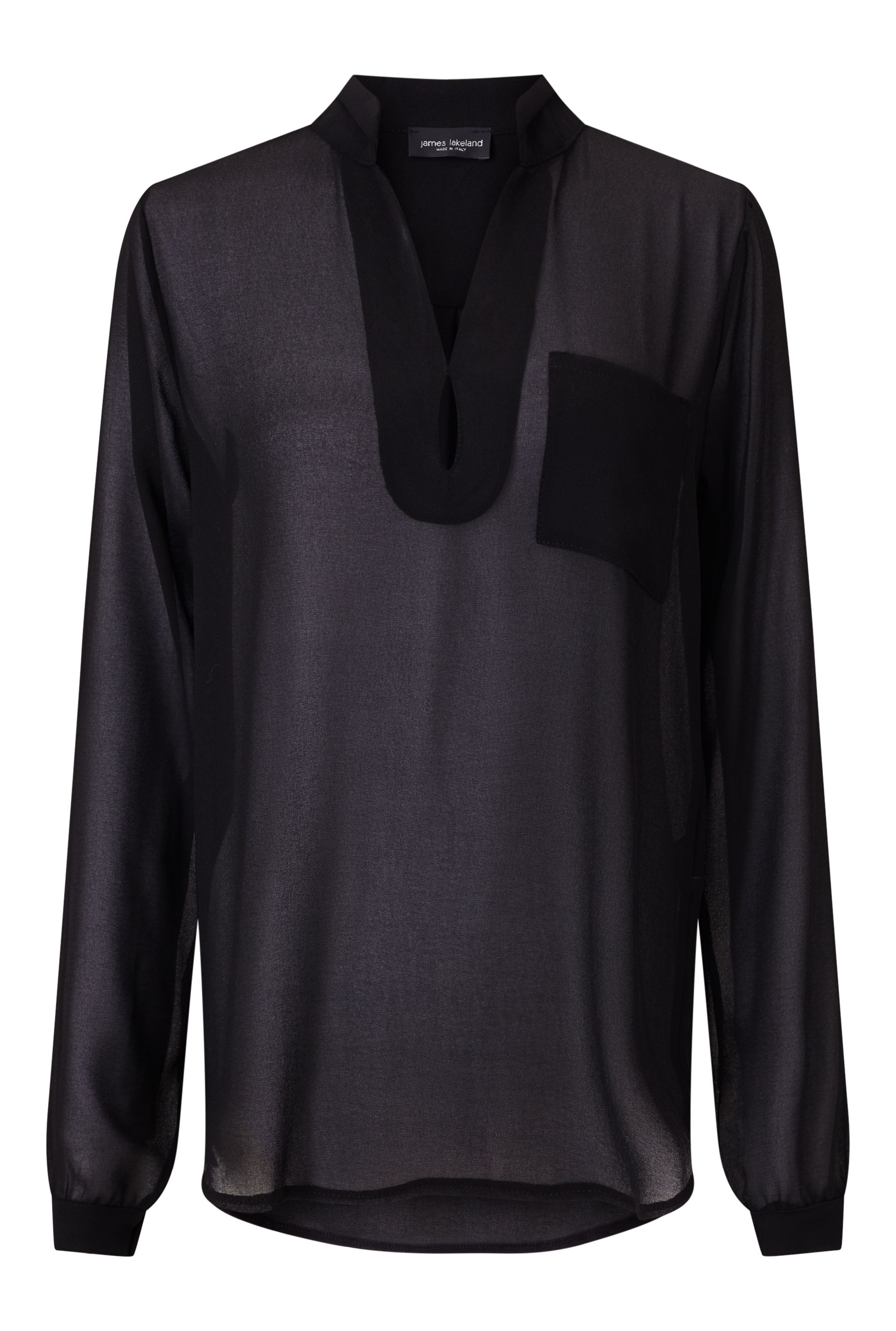 James Lakeland Long Sleeve Pockets Blouse, Black