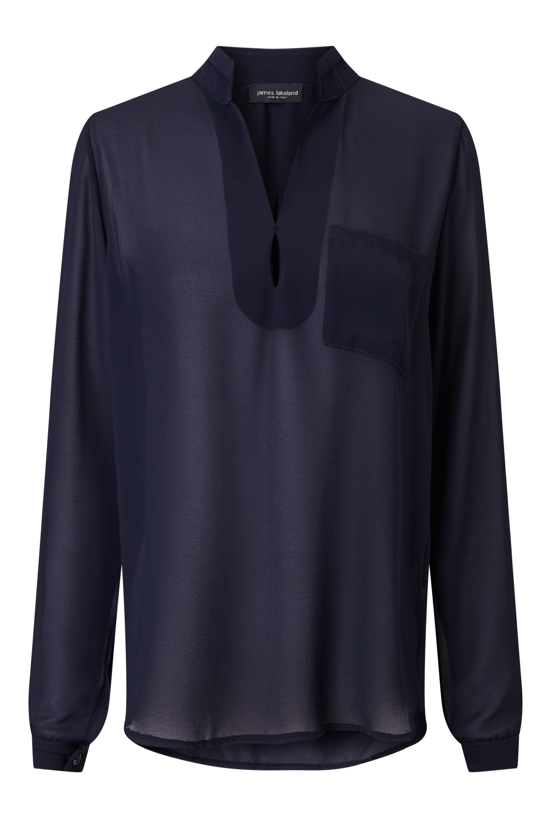 James Lakeland Long Sleeve Pockets Blouse, Blue