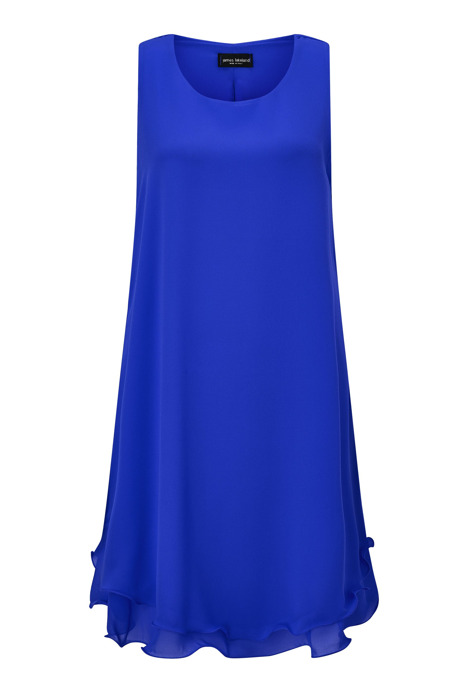 James Lakeland Sleeveless Wave Hem Dress, Blue
