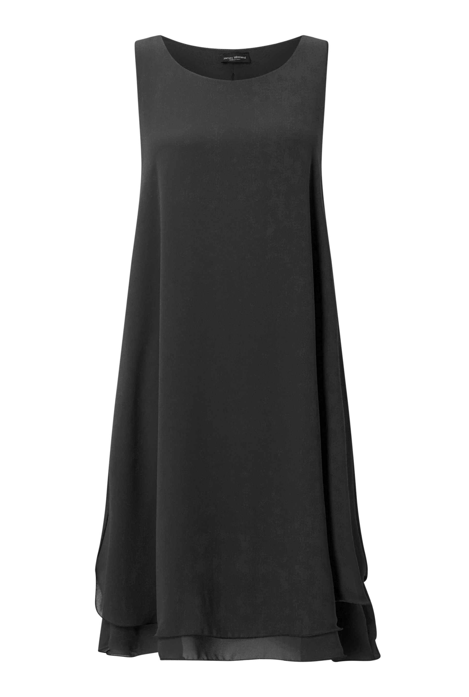 James Lakeland Sleeveless Wave Hem Dress, Black