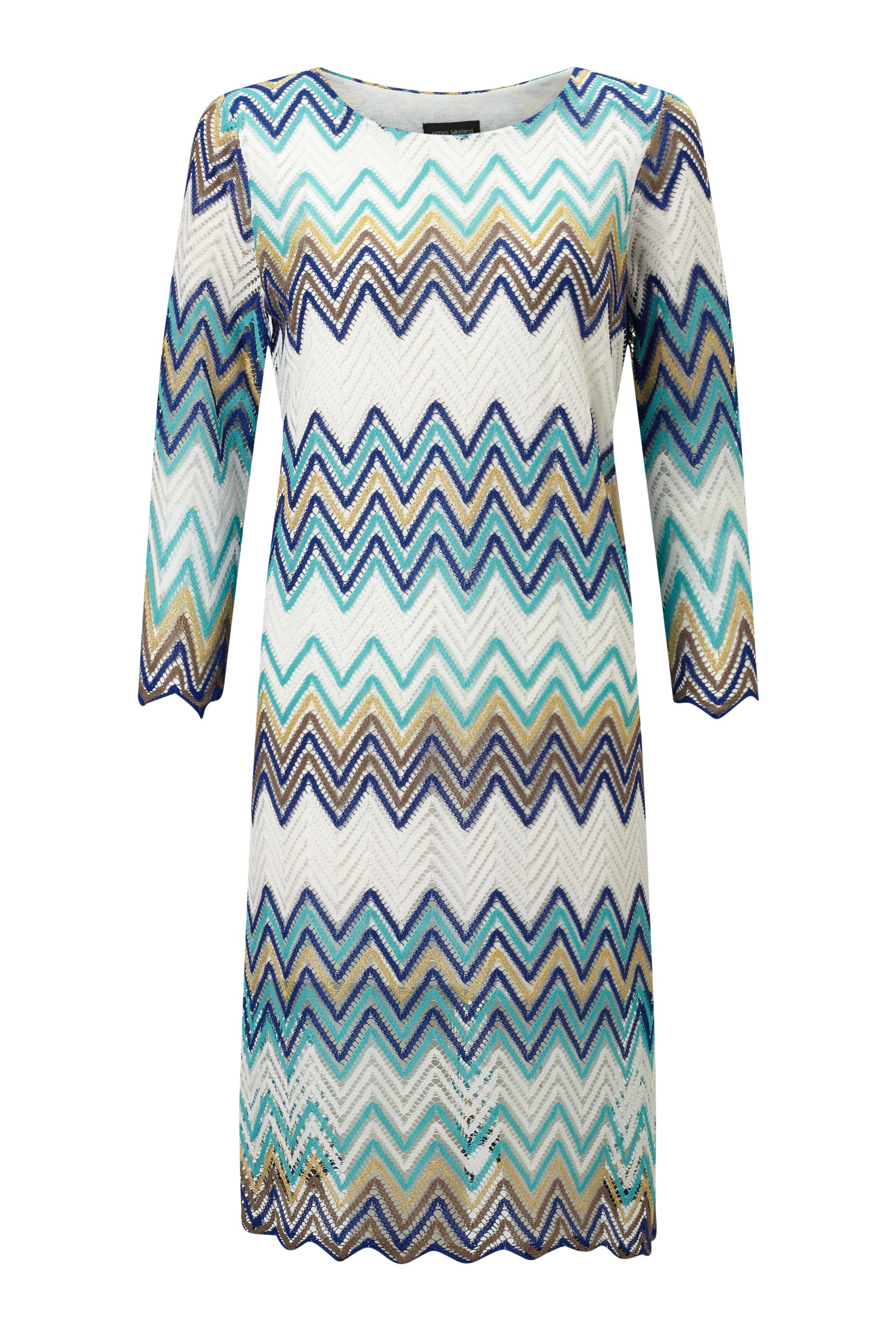 James Lakeland Zig Zag Lace Dress, Blue