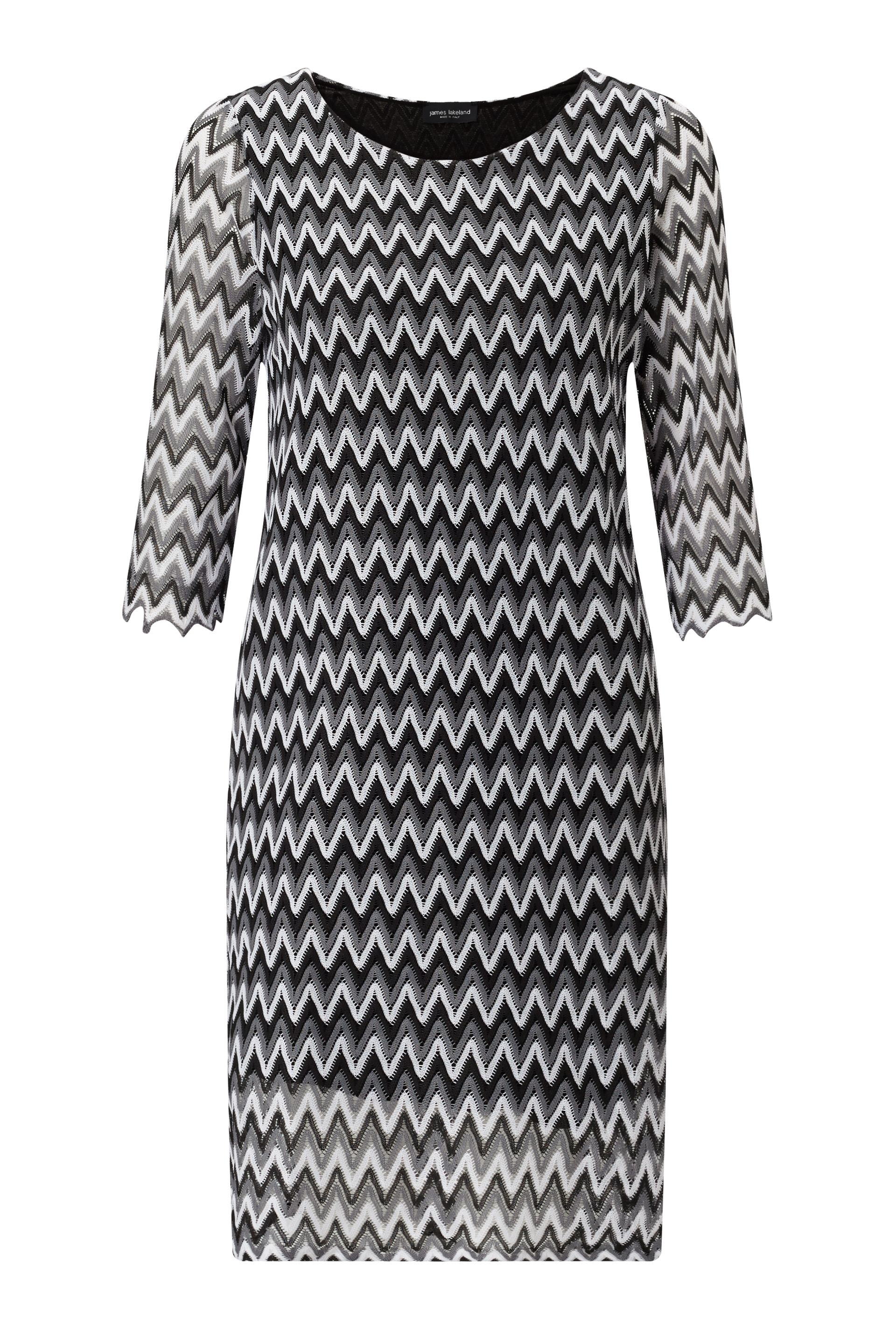 James Lakeland Zig Zag Lace Dress, Grey
